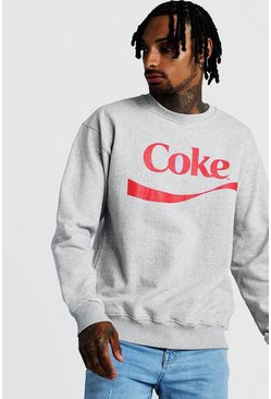 Mens Grey Coke License Sweatshirt