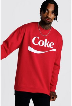 Mens Red Coke License Sweatshirt
