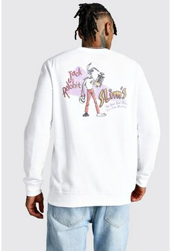 Mens White Pulp Fiction License Sweatshirt
