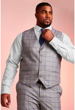 Gilet skinny Windowpane Big & Tall, Grigio