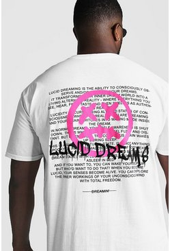 Mens White Big & Tall Lucid Dreams Graffiti Print T-Shirt