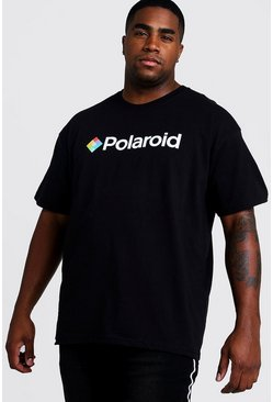 Black Big and Tall Polaroid License T-Shirt