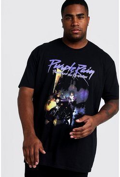 "Herr Black Big & Tall - ""Purple Rain"" t-shirt med Prince-motiv"
