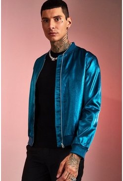 Mens Blue Party Hi-Shine Bomber
