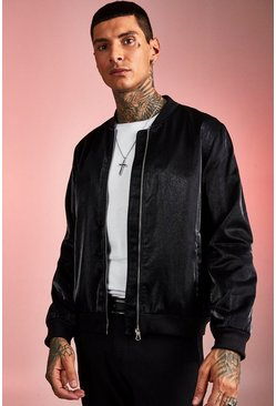 Mens Black Party Hi-Shine Bomber