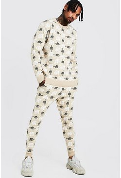 Herr Beige Gothic M All Over Print Knitted Jumper & Jogger Set