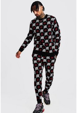 Red Gothic M All Over Print Knitted Jumper & Jogger Set