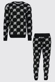 00a553bb26 Gothic M All Over Print Knitted Jumper & Jogger Set | Boohoo