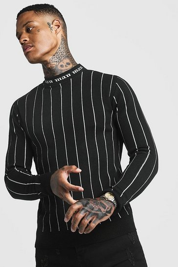 Mens Black Gothic MAN Muscle Fit Turtle Neck Jumper