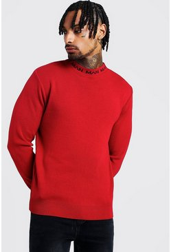 Mens Red MAN Muscle Fit Turtle Neck Jumper
