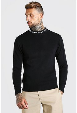 Mens Black Muscle Fit MAN Turtle Neck Jumper