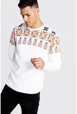 Pull oversize en maille jacquard fluo, Blanc, Homme