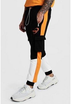 Mens Black BHM Skinny Fit Orange Colour Block Cargo Jogger