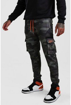 BHM Skinny Fit Cargo-Jogginghose in Camo-Print, Anthrazit