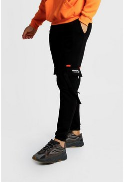 Mens Black MAN Official Print Jersey Cargo Joggers