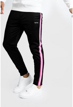 Mens Black Original MAN Tricot Jogger With Neon Side Tape