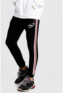 Mens Black MAN Official Skinny Fit Jogger With Tape Detail