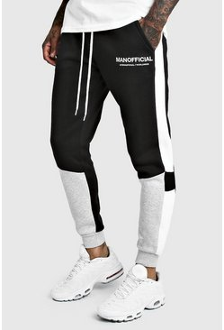 Mens Grey MAN Official Skinny Fit Colour Block Jogger