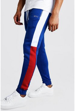 Mens Cobalt Original Man Skinny Fit Colour Block Jogger