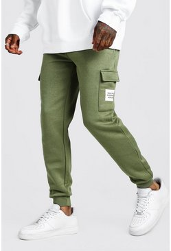 Mens Khaki MAN Official Slim Fit Cargo Jogger