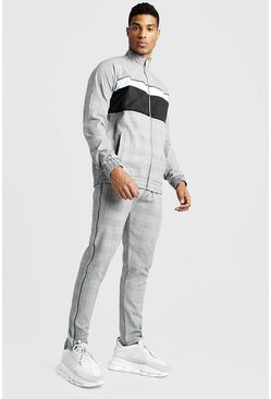 Mens Grey Smart Funnel Neck Jacquard Tracksuit With Panels