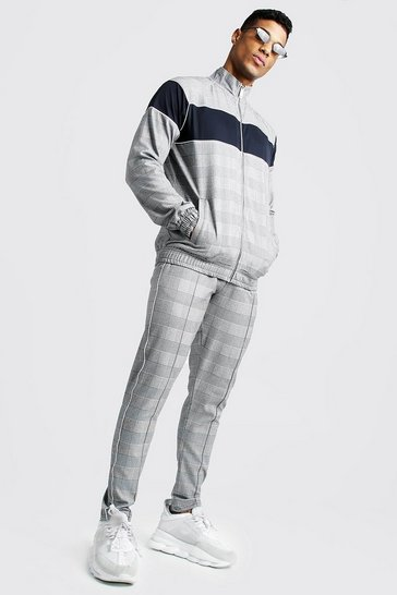 Mens Grey Smart Jacquard Funnel Neck Tracksuit With Piping
