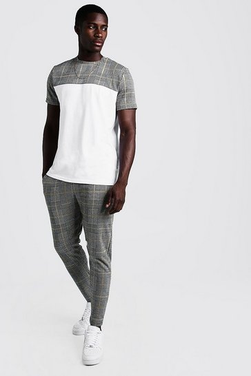 Mens White Smart Jacquard Check Panelled T-Shirt Tracksuit