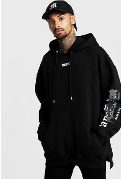 Graffiti MAN Official Oversized Hoodie mit Stufensaum, Schwarz, Herren