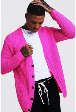 Mens Pink Loose Fit Cable Knit Cardigan