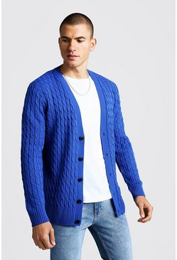 Herr Cobalt Loose Fit Cable Knit Cardigan