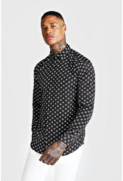 Mens Black MAN Repeat Design Long Sleeve Shirt