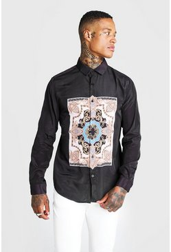 Mens Black Long Sleeve Shirt With Placement Baroque Print