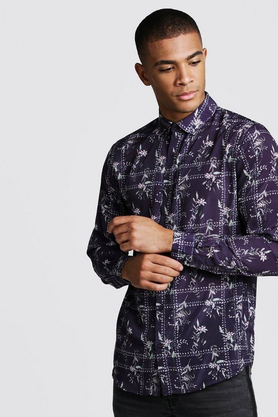 Black Long Sleeve Floral Tile Print Shirt