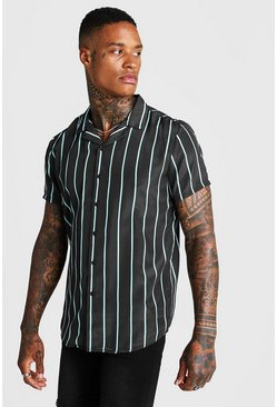 Herr Black Mint Stripe Revere Collar Shirt