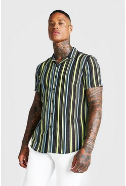 Mens Black Bright Stripe Short Sleeve Revere Shirt