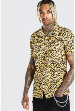 Herr Gold Short Sleeved Collared Leopard Print Shirt