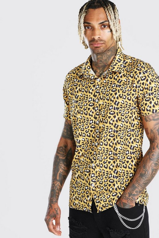 Mens Gold Short Sleeved Collared Leopard Print Shirt