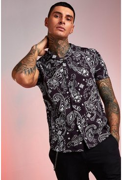Mens Black Short Sleeve Revere Paisley Print Shirt