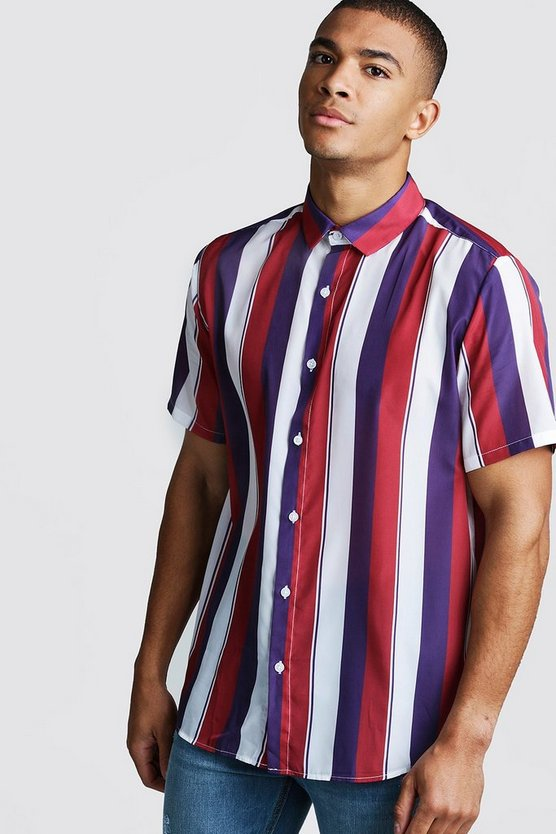 White Collared Short Sleeve Shirt In Vertical Stripe