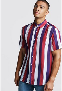 Mens White Collared Short Sleeve Shirt In Vertical Stripe