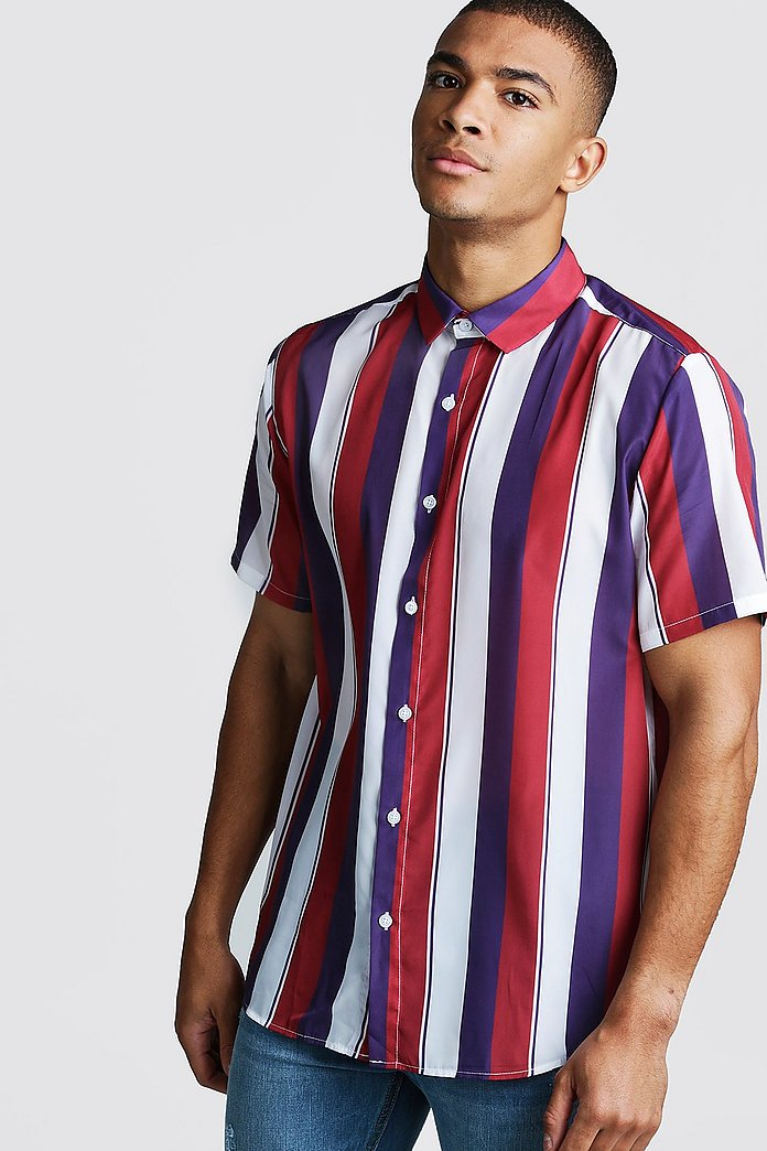 HTOOHTOOH Mens Street Style Summer Short Sleeve Vertical Stripe Button Down Shirt