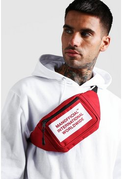 Mens Red MAN International Print Bumbag