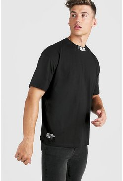 Mens Black Gothic MAN Oversized Extended Neck T-Shirt