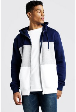 Mens Grey marl Colour Block Zip Through Hoodie