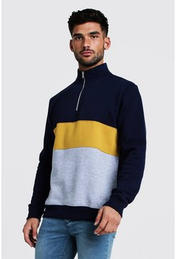 Mens Mustard Colour Block 1/4 Zip Neck Funnel Top