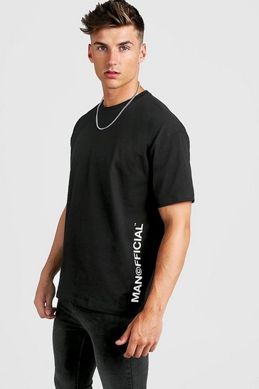 Mens Black MAN Official Oversized Vertical Print T-Shirt