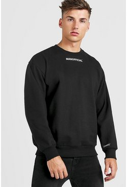 Mens Black MAN Official Oversized Sweatshirt
