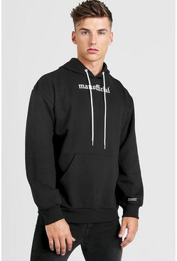 Mens Black Gothic MAN Official Oversized Hoody