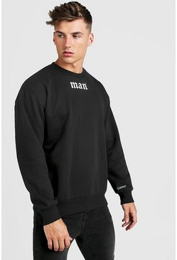 Mens Black Gothic MAN Oversized Sweatshirt