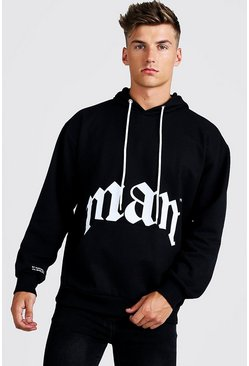 Mens Black Gothic MAN Oversized Hoody
